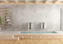 raum manufaktur Ackermann - Wandgestaltung Beton Optik Wohnzimmer mit Regal